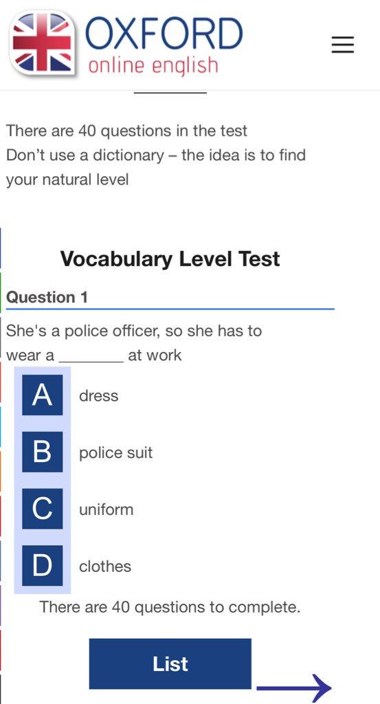 #مدونة_تعلم_الإنجليزية 🔸 اختبار من ٤٠ سؤال عن مفردات اللغة E تقدمه Oxford online English جرّب وقت فراغك 👇🏼 oxfordonlineenglish.com/english-level-…
