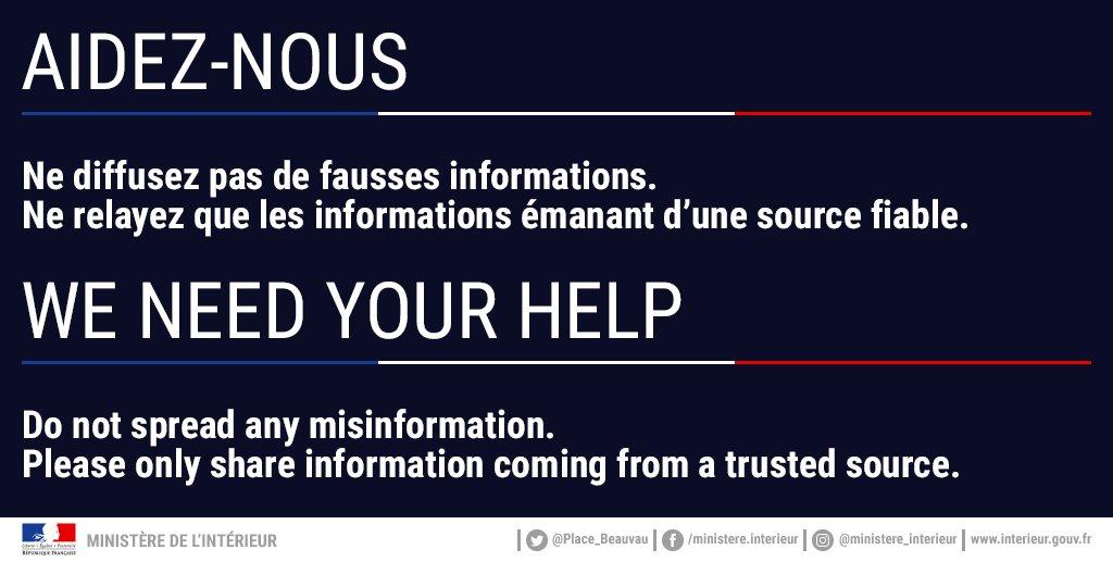 ⚠️ Agression à #Paris : prenez garde aux rumeurs. Ne relayez que les informations émanant de sources fiables.