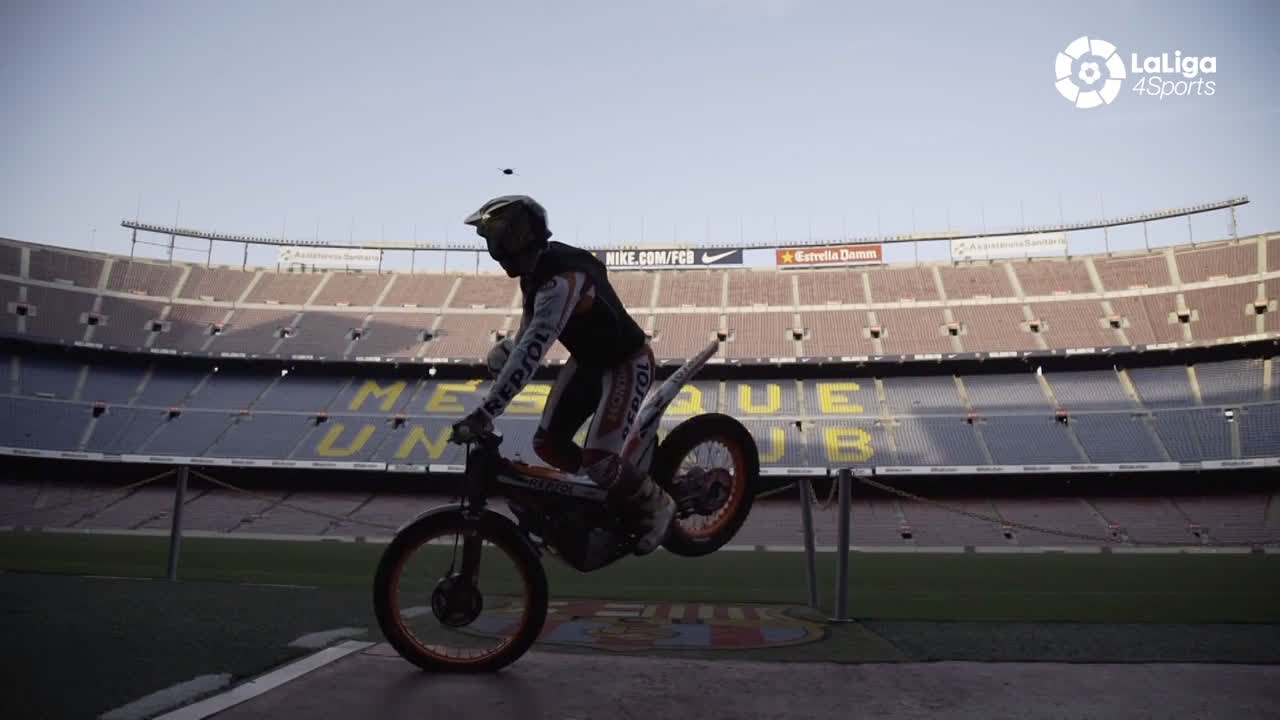 ����  The king of motorcycle trials, @tonibou_oficial, visits the Camp Nou... on his bike! �� https://t.co/SRMSaTPx78