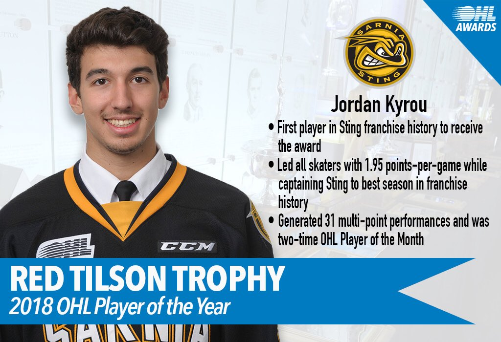 OHL: Blues Prospect Kyrou Named Player Of The Year