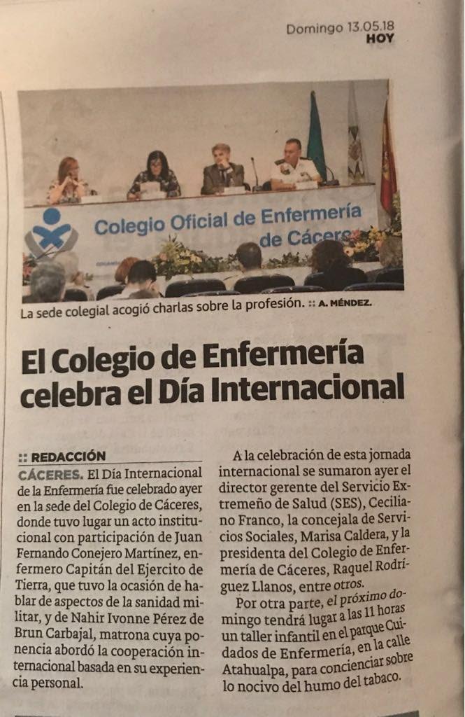 Nuestro #DíaInternacionaldelaEnfermería en el @hoyextremadura 😊