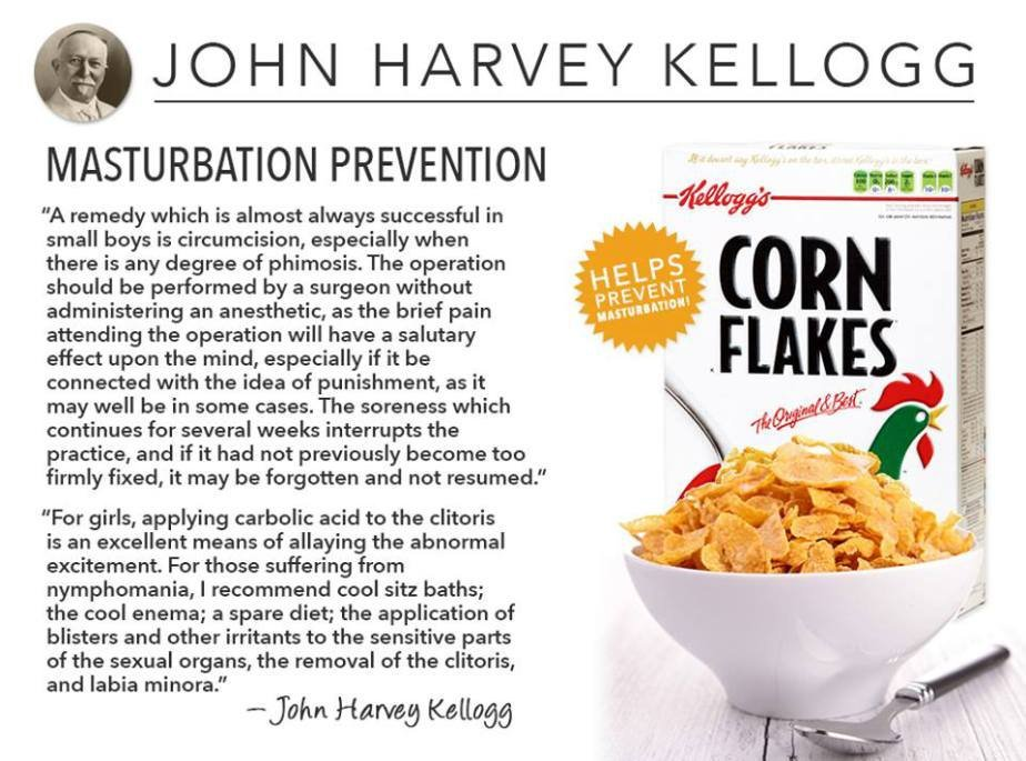 Promotion of cereals was part of Kellogg's campaign to diminish sexual desire (meat-eating seen as tied to virility) https://t.co/aTxoq9ZCtQ
