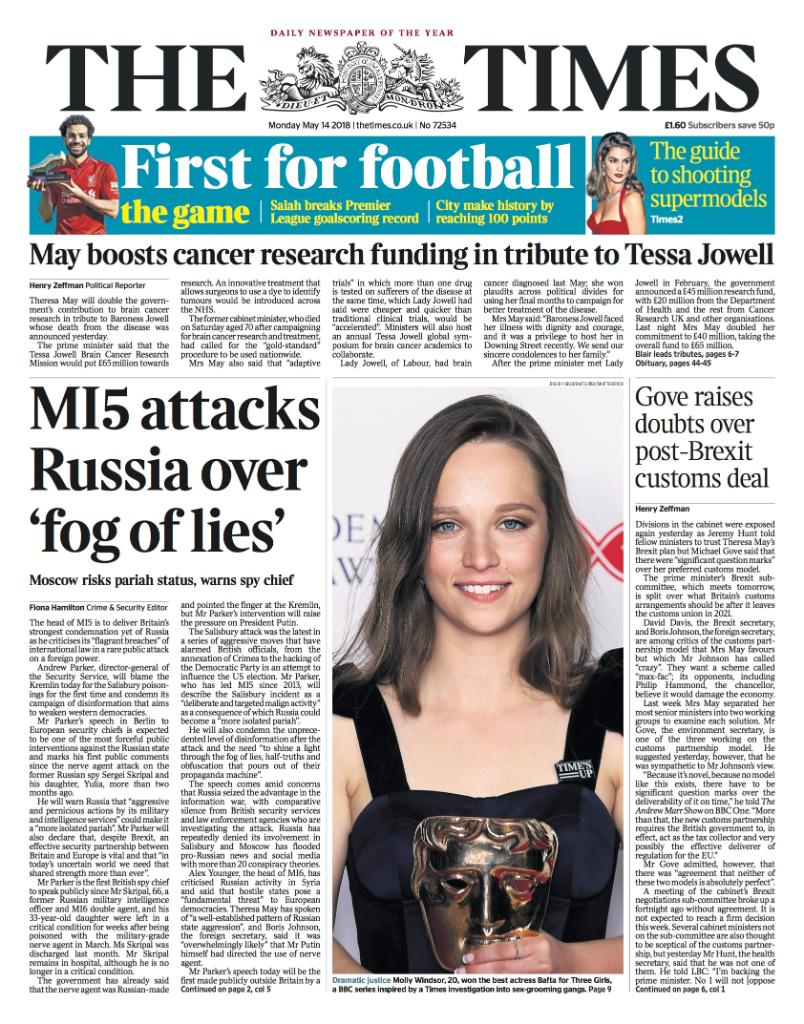 Tomorrow's front page: MI5 attacks Russia over 'fog of lies' #tomorrowspaperstoday https://t.co/qIxOiKvla0