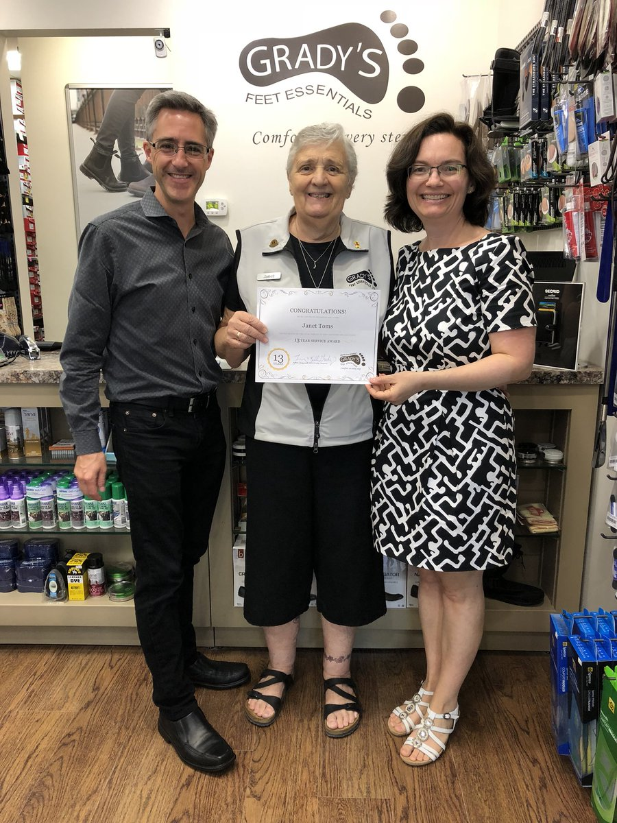test Twitter Media - Janet Toms received her 13 Year Service Pin today! 🎉 Janet has an incredible depth of footwear knowledge & has helped innumerable customers over the years. Thank you for your dedication, Janet. It's a pleasure having you as part of the Grady family! ❤️ #PTBO @LansdownePlace https://t.co/wub0Xbam8Q