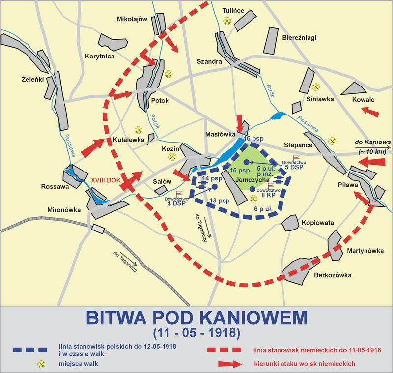 May 11, 1918 - German forces surround and defeat Polish force of 8,000 men revolting against terms of Brest-Litovsk Treaty, at Battle of Kaniv in Ukraine #100yearsago