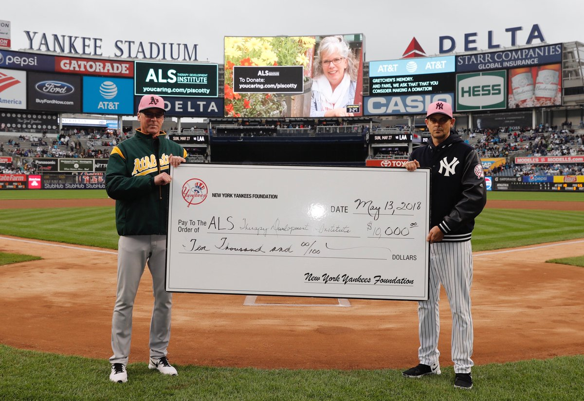 We'd like to thank the @Yankees for their generous donation to the ALS Therapy Development Institute in memory of Gretchen Piscotty.  You can continue to donate here: http://youcaring.com/piscotty