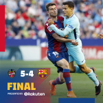 ⏰ Final del partido en el Ciudad de Valencia Levante UD 5-4 FC Barcelona ⚽ Boateng (x3), Bardhi (x2) / Coutinho (x3) y Suárez 🔵🔴 #LevanteBarça #ForçaBarça