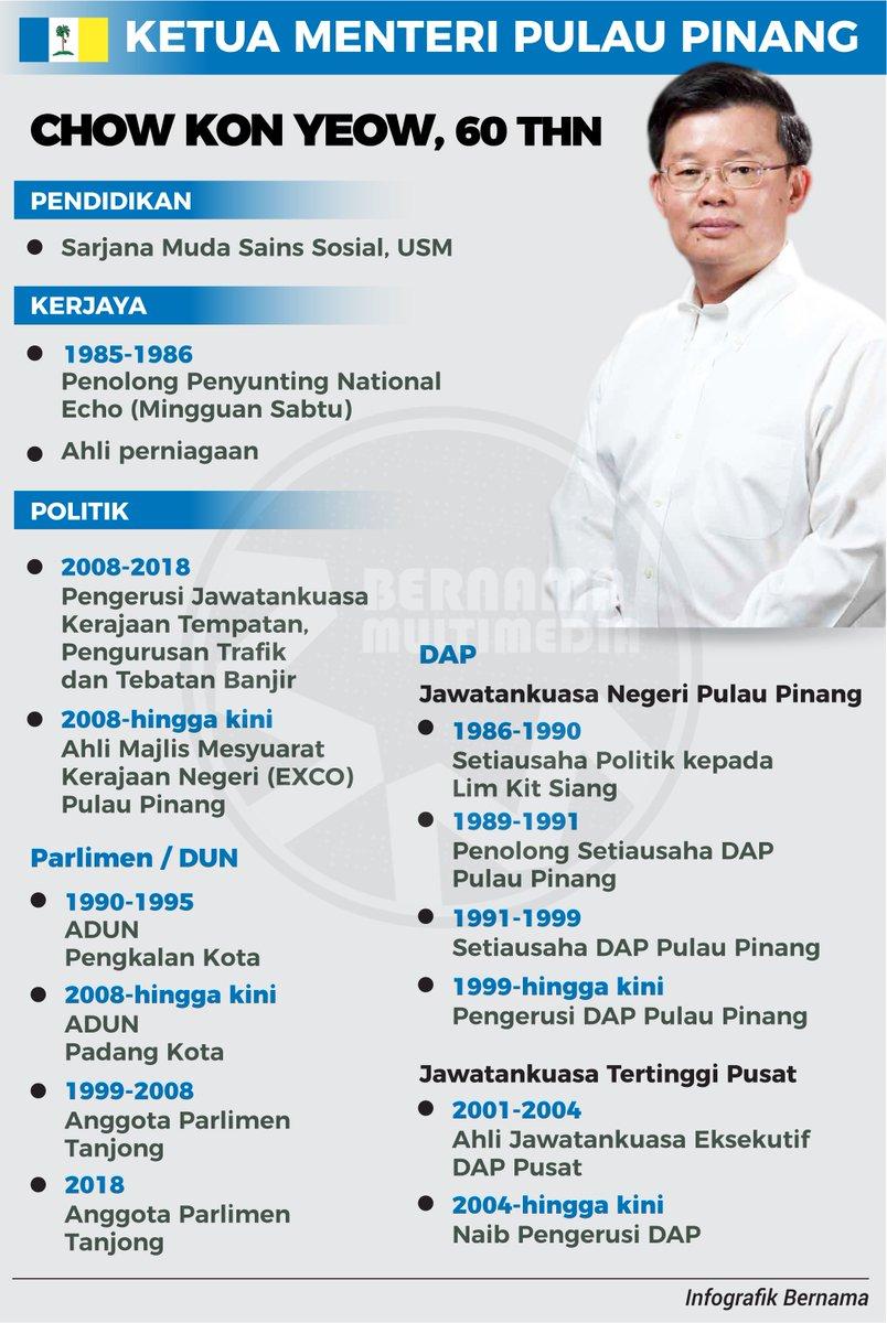 Bernama On Twitter Infografik Ketua Menteri P Pinang Chow Kon Yeow