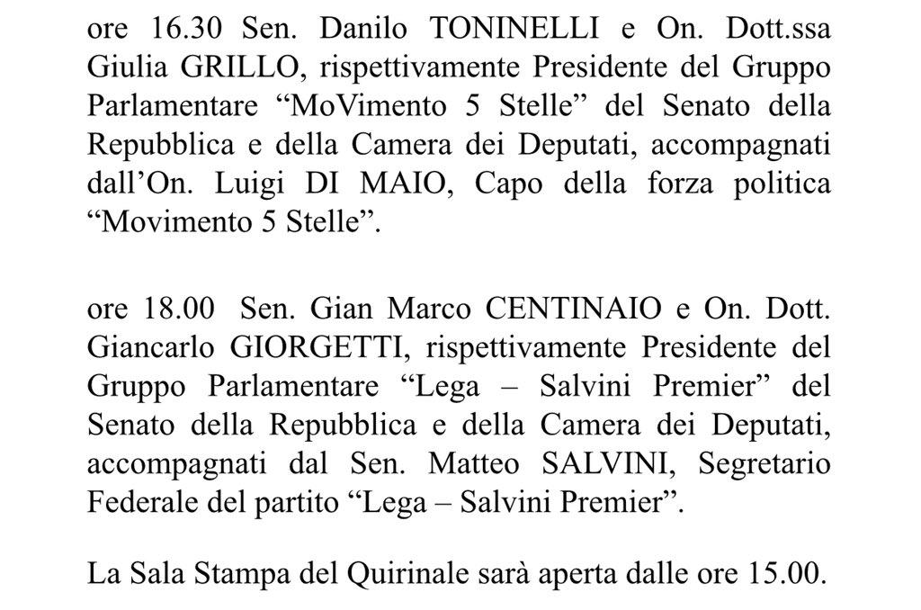 #Quirinale: Il Presidente #Mattarella riprenderà oggi 14 maggio le #consultazioni con il seguente calendario 👇