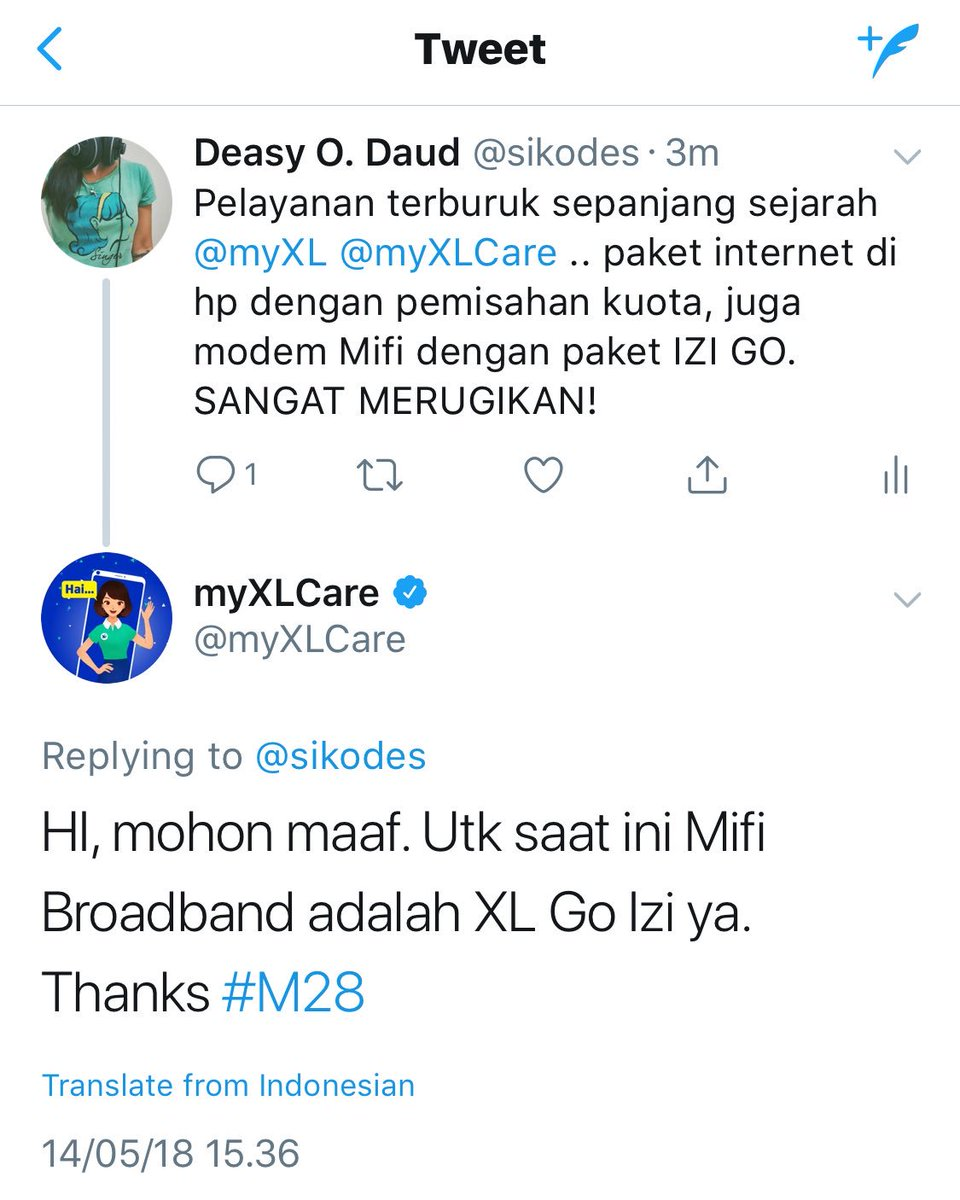 Deasy O Daud Sikodes Twitter Xl Go Izi 1 Reply Retweet 0 Likes