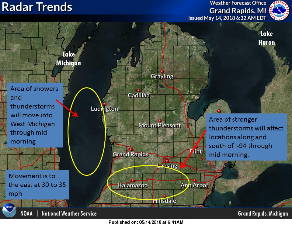 "NWS Grand Rapids on Twitter ""Strong storms will continue along I 94"
