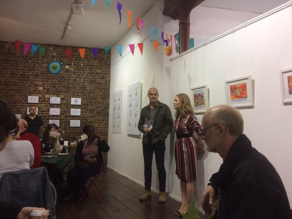 Fantastic afternoon at the Imagination Cafe today with @BenUriGallery represented once more by Monty's geometric designs - all to celebrate the creative expression of those living well with dementia