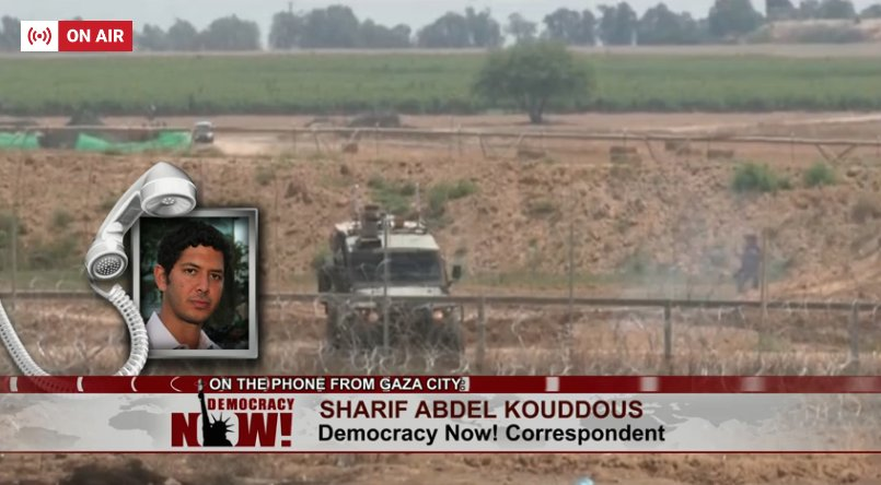"""Live now: @sharifkouddous is reporting from Gaza, where the Israeli military has killed at least 30 Palestinians today: """"No one is carrying any weapons here, there are no bullets being fired by Palestinians on Israeli soldiers… and yet, these killings continue"""""""