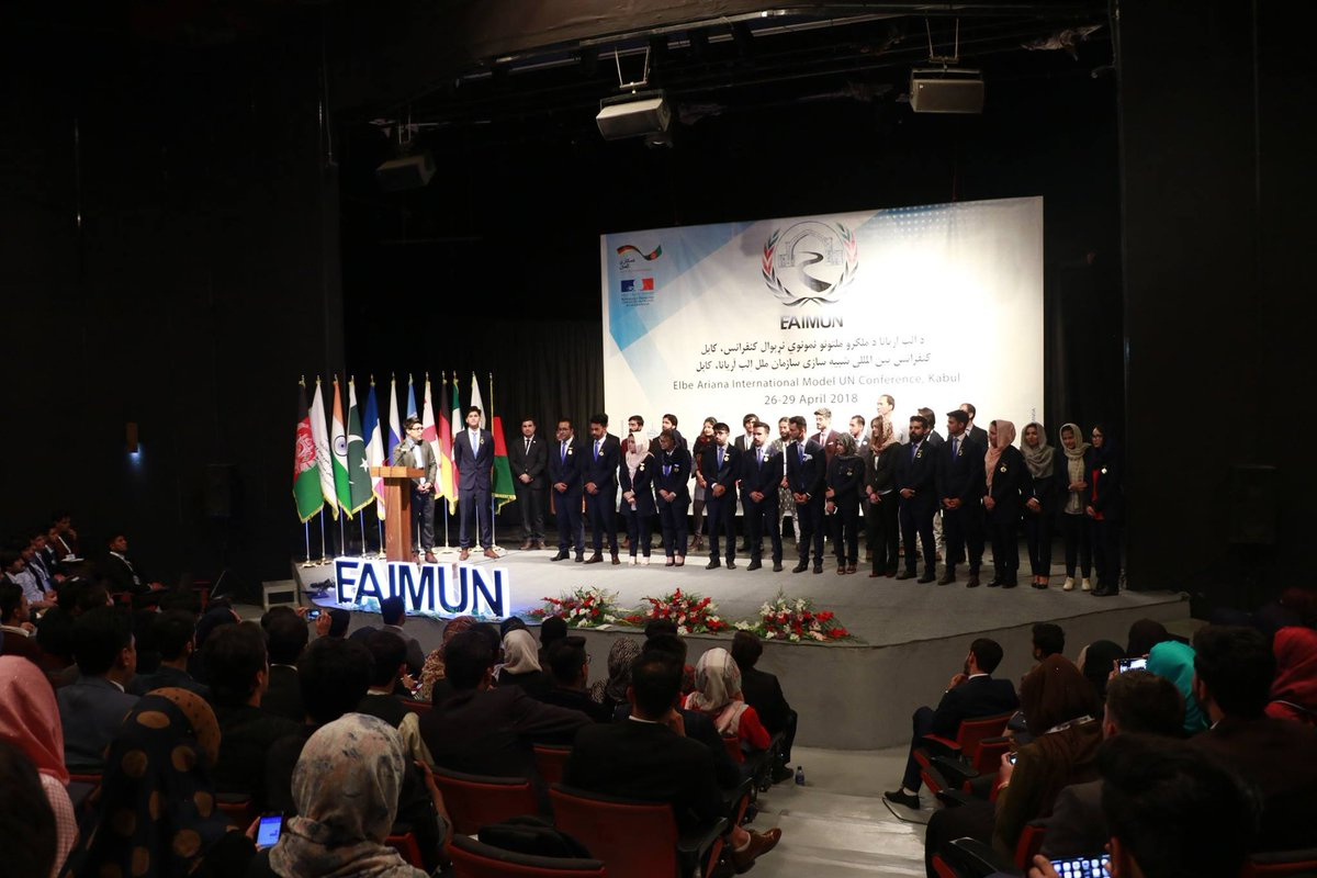 @GermanyinAFG and @AmbassadeKaboul supported Afghanistan's first international Model UN conference EAIMUN 2018. Great success, future diplomats!