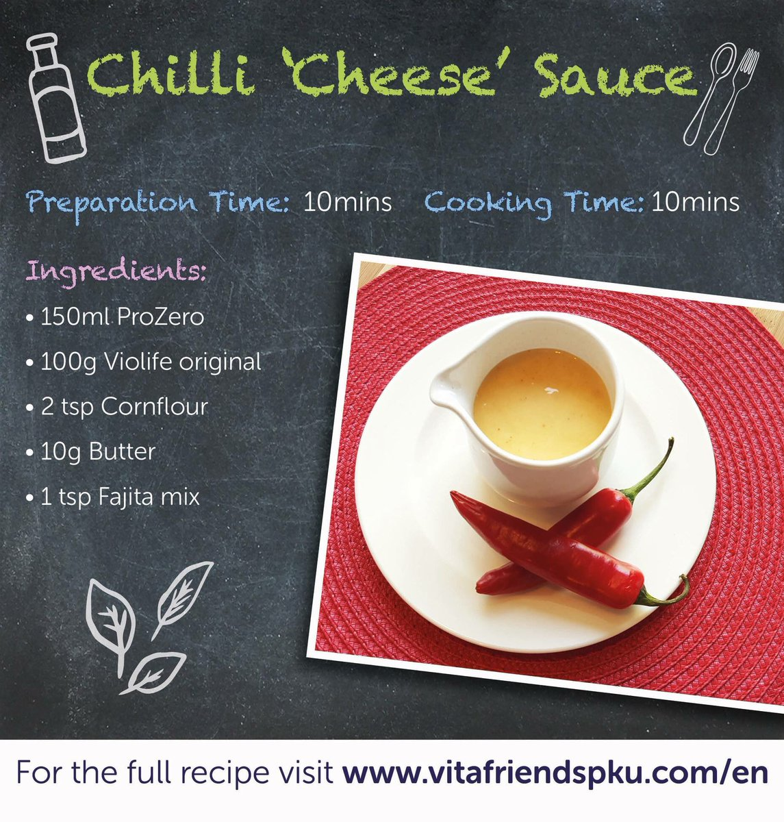 Fancy something a bit different to dunk your Sweet Potato Fries in? Try our Chilli &#39;Cheese&#39; Sauce to spice things up a bit! Recipe is here:  https://www. vitafriendspku.com/en/recipes/low -protein-sauce/ &nbsp; …  #pku #pkurecipes #FakeawayMay<br>http://pic.twitter.com/vG1iHCqj75