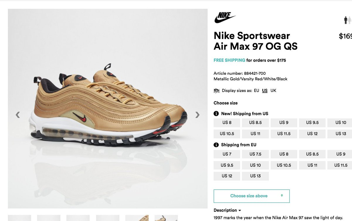 ed3453f425 #RESTOCK Nike Air Max 97 'Metallic Gold' => http://bit.ly/2pOSDgG =>  http://bit.ly/2pOSDgG use code sneakerspic.twitter.com/pZFVfWScNB
