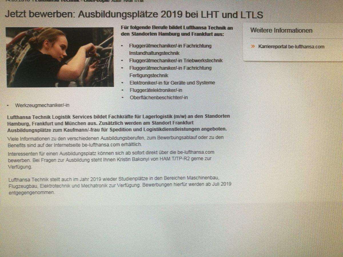 nicolas nacke on twitter lufthansa technik und lufthansa logistik suchen auszubilden fr 2019 bewerben kann man sich hier - Bewerbung Lufthansa