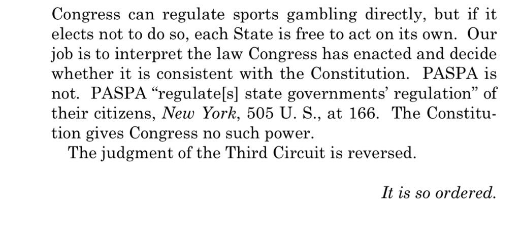 Professional and amateur sports protection act of 1992