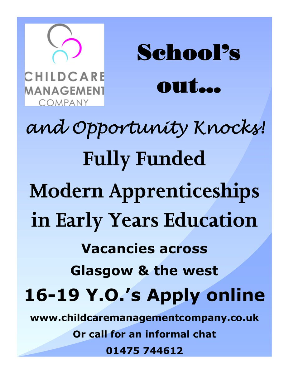 modern apprenticeship nursery vacancies currently available across glasgow and surrounding areas fully funded training available for candidates aged 16