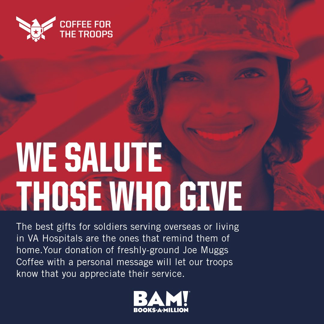 #CoffeeForTheTroops is about bringing the comforts of home to our soldiers in VA hospitals and overseas. Help support our troops and donate a bag of #JoeMuggsCoffee today, see an associate for more details. bit.ly/2rlwFor