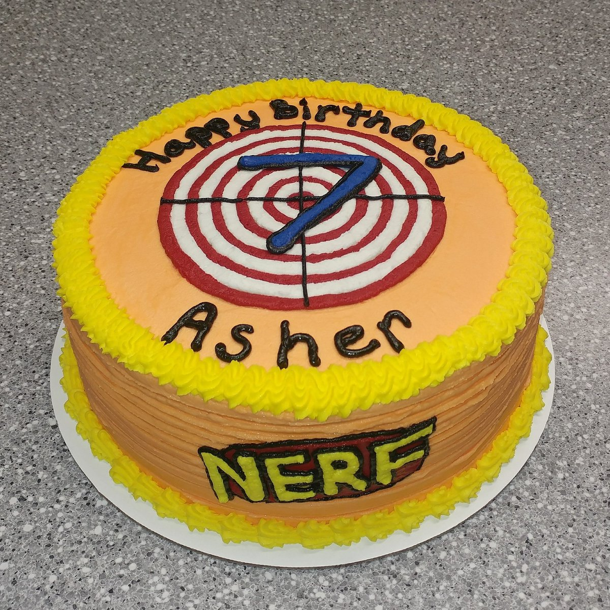 Astounding Cupcakes By Flea On Twitter Nerf Birthday Cake Nerf Birthday Personalised Birthday Cards Veneteletsinfo