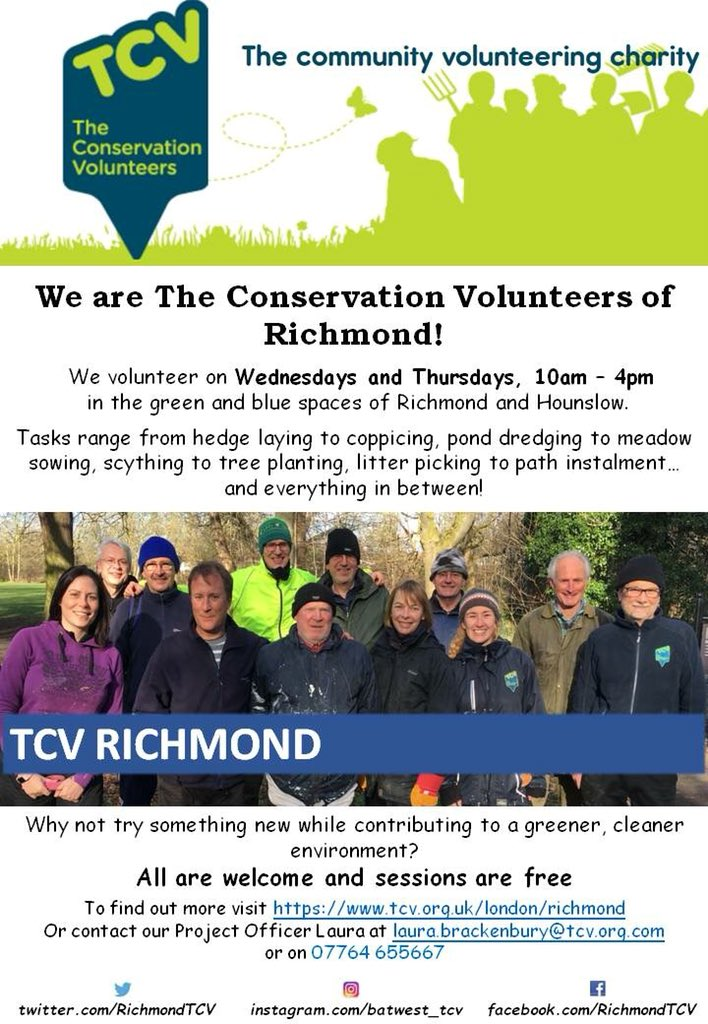 We are The Conservation Volunteers of Richmond! We volunteer every Wednesday and Thursday in the green spaces of Richmond and Hounslow. Why not join us for exciting conservation projects in your area...all are welcome and it's totally free!!