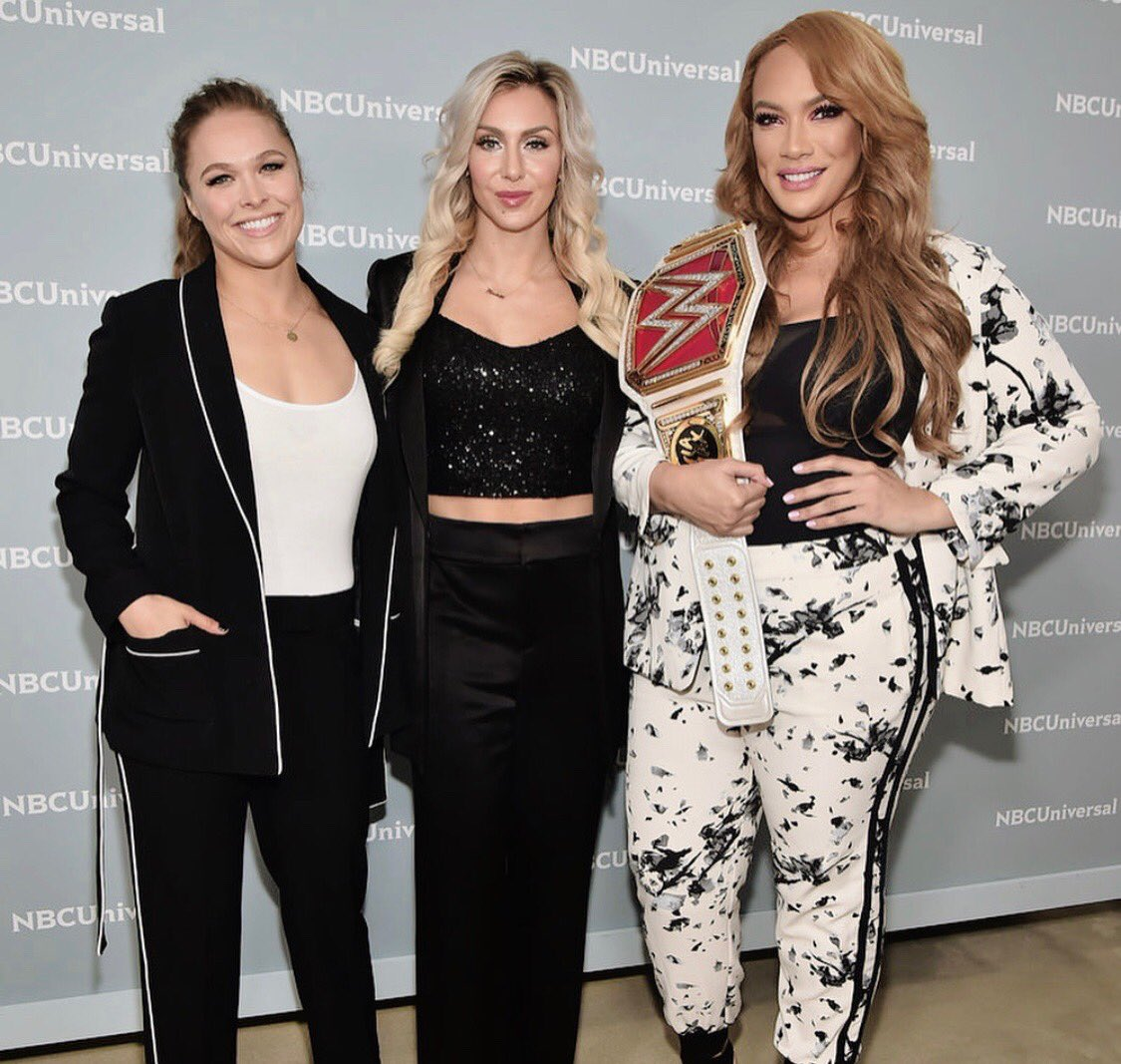 The Elite Of WWE Woman's Division In NY Representing! WOOOOO! @MsCharlotteWWE @RondaRousey @NiaJaxWWE