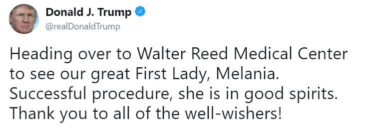 Moments ago, President @realDonaldTrump tweeted about @FLOTUS. https://t.co/aCKfvNoTiW https://t.co/alfsPyYKy7