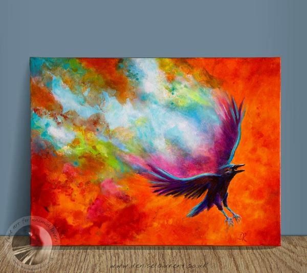 It&#39;s a hot day in the thermals and the air swirls behind him as the crow spirals down to land! I love watching crows flying, they are so skilled in the air. :-) #crow #crowart #corvids #acrylicpainting #art4sale #birds      http:// bit.ly/2wzhkFA  &nbsp;  <br>http://pic.twitter.com/z59i8mpHTz