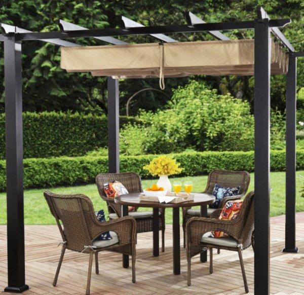 Outdoor Pergola Aluminum Canopy Retractable Shade Shelter ...