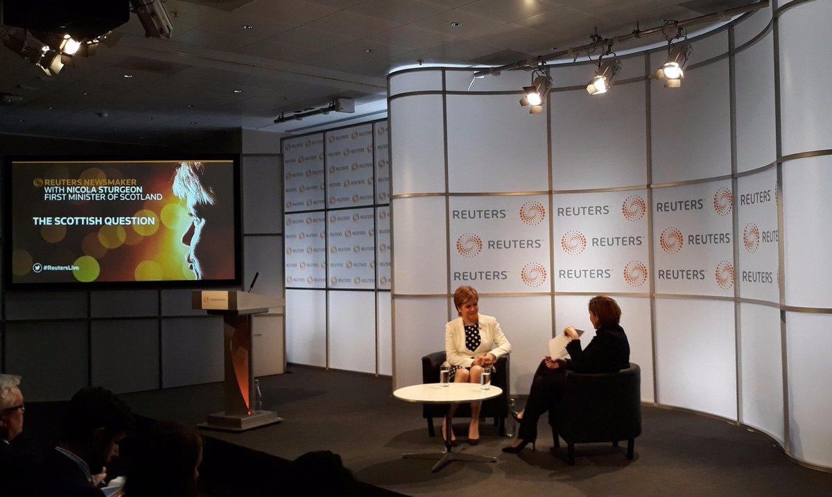 Scotland&#39;s future in Europe. FM @NicolaSturgeon interviewed in London by @Reuters @ReutersUK Global News Editor @aagalloni #reuterslive <br>http://pic.twitter.com/h6qktqOTdN