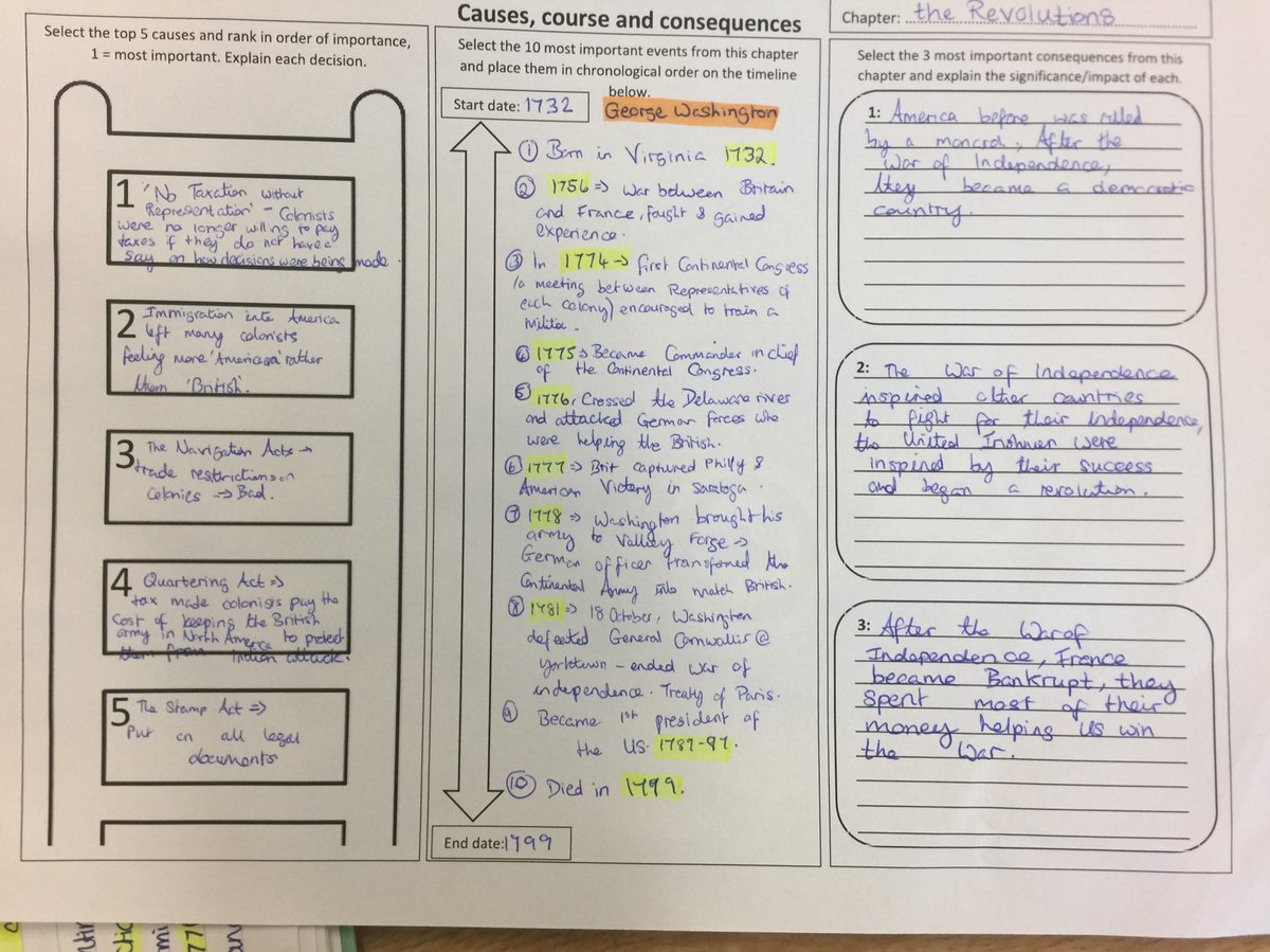I Used The Cause Course And Consequence Worksheet With JCHist To Revise American Revolution Revision JCHistory Rankingladder Numeracy Histedchat