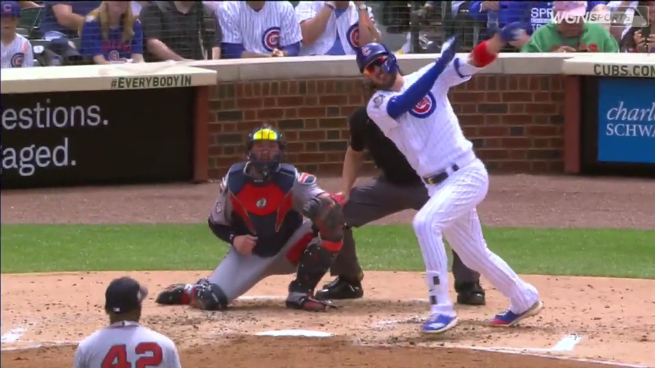 It's a slugfest at Wrigley and @KrisBryant_23 got all of this one. �� https://t.co/eR2qGKsnyd