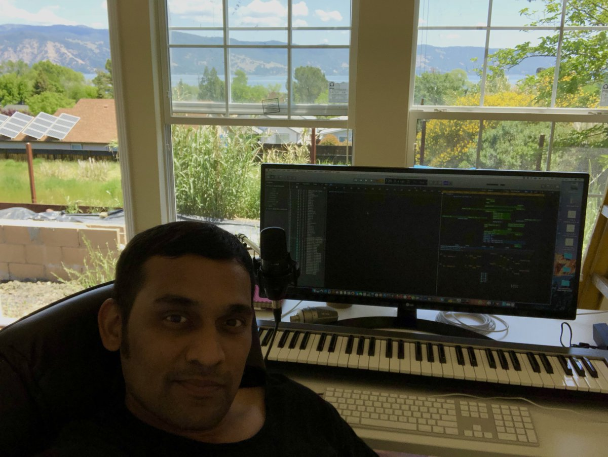 such a beautiful day to start a new song composition !! the lake,. the mountains.,the lush green,.. perfect recipe for another soulful song!! #srinivasakalyanam composing !