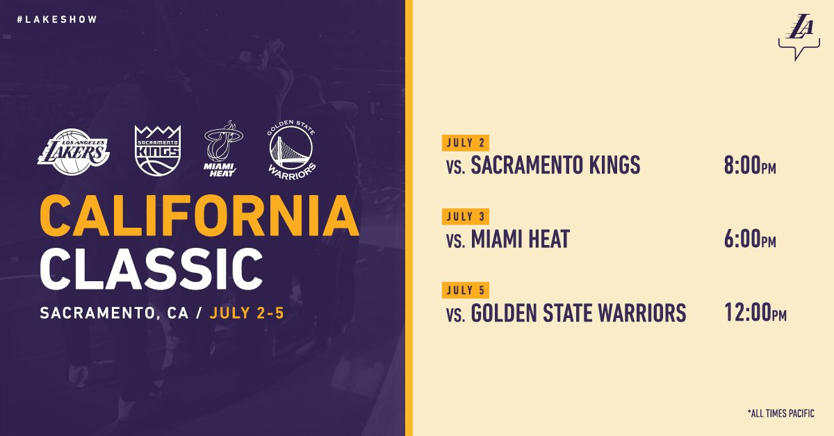 Before their annual trip to @NBASummerLeague in Las Vegas the #LakeShow will matchup with the Kings, Warriors & Heat in the inaugural California Classic: on.nba.com/2rI6rfP