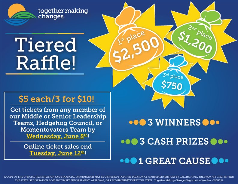#GiveBack for a chance to win up to $2,500! Tickets now available for our Together Making Changes Tiered Raffle! What will YOU do if you are one of our winners? Purchase tickets online here -  #Fundraiser
