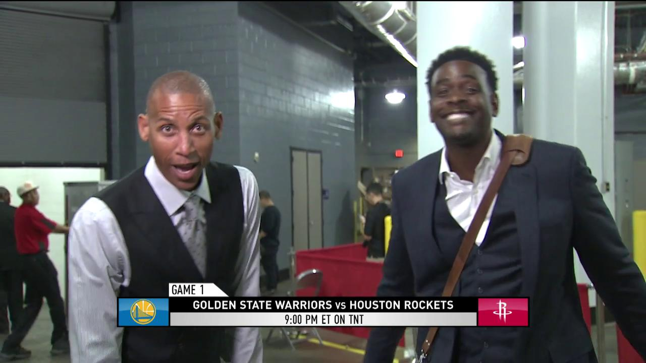 'It's finally here!'  @ReggieMillerTNT & @realchriswebber were HYPED for the WCF in the tunnel ��  #TheWarmup https://t.co/nz7GocgRlq