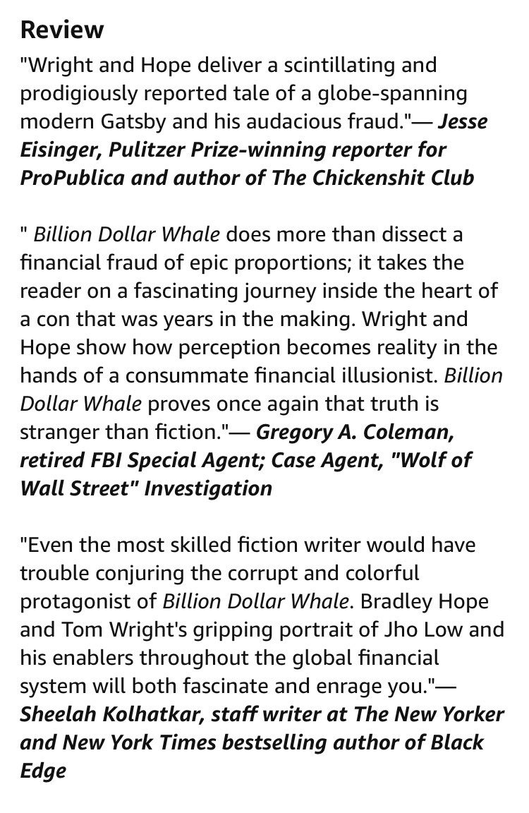 Tom Wright On Twitter Some Exciting Early Reviews Of Billion Dollar Whale Bradleyhope