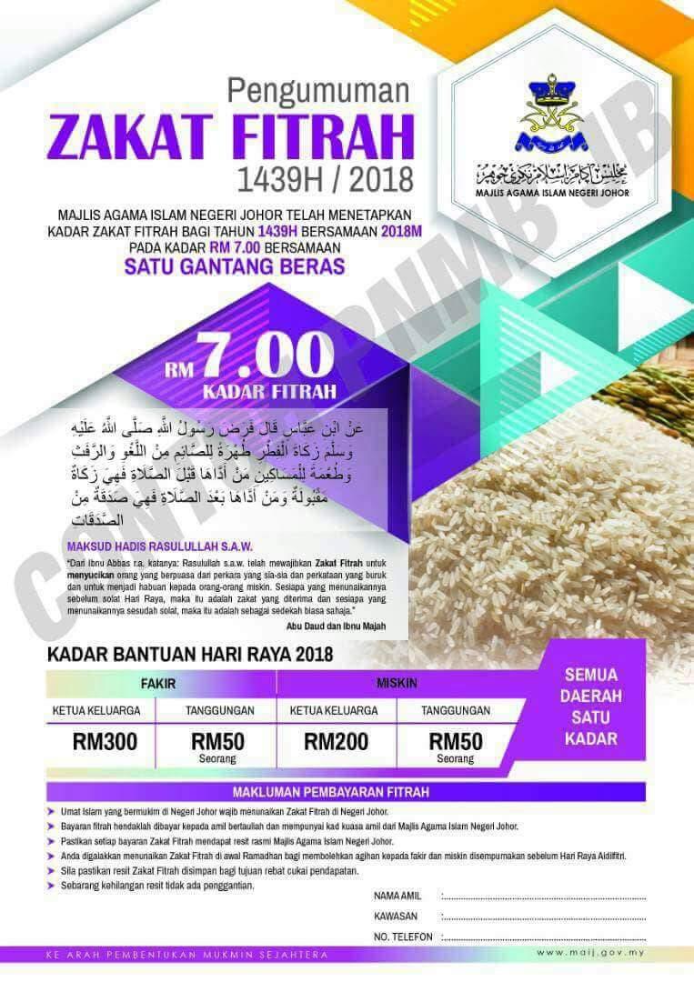 Eden Hazrald On Twitter Kadar Bayaran Zakat Fitrah Bagi Negeri Johor Johortetapjadijohor Muafakatjohor Jbtu