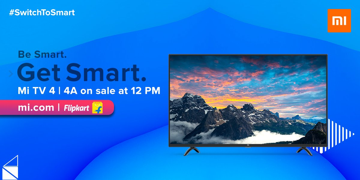 #SaleAlert - Mi TV 4 and Mi TV 4A go on sale at 12 PM on mi.com & @Flipkart. Its time for you to #SwitchToSmart RT to win F-codes.