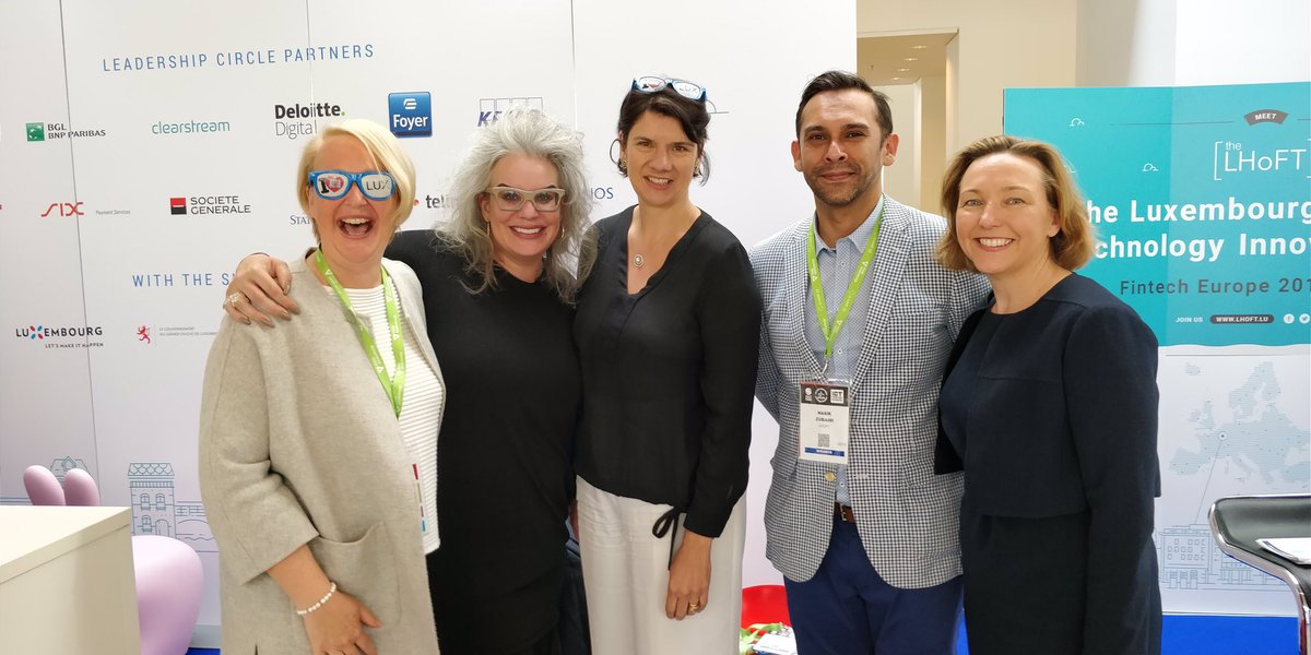 When #WomenInFintech meet on @The_LHoFT stand hosted by CEO @naszub ! #FinTech friends in #Luxembourg at #ICTSpring2018<br>http://pic.twitter.com/YGzQHmfjzL