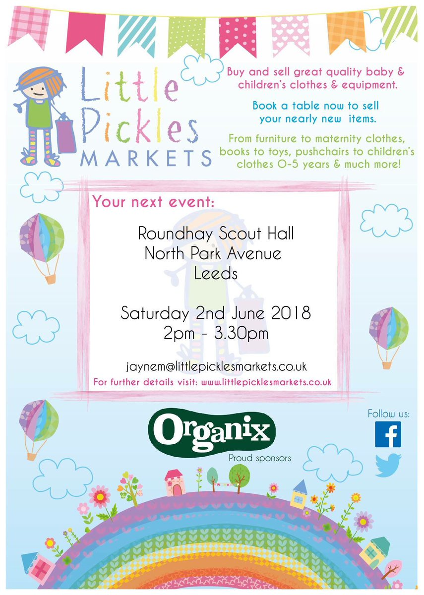cd7485711 Little Pickles #nearlynew markets will be coming back to #Roundhay Scout  Hall on 2 June - will you be there? Stalls still available - email ...