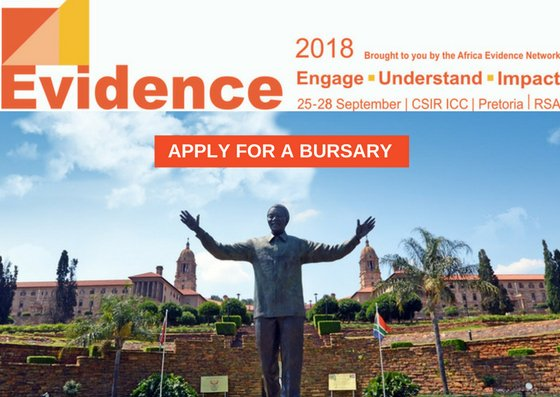 #Bursary Alert! Are you planning to attend @Africa_evidence  #Evidence2018 conference, #Pretoria, 25-28 September?  #Apply for our bursary programme by 1 June #Africalovesevidence #evidence2policy  View the announcement:  http:// evidenceconference.org.za/bursaries/  &nbsp;  <br>http://pic.twitter.com/xa91dIbVDZ