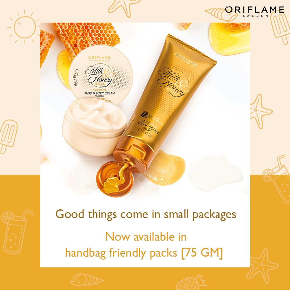 Oriflame India On Twitter Your Favourite Milk And Honey Gold Sugar Scrub Nourishing Hand Body Cream Now Available In Small Packs Of 75 Gm Get Them Browse The May Catalogue Here