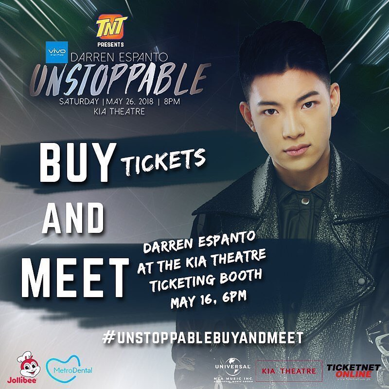 Get to meet @Espanto2001 when you buy #DarrenUnstoppable tickets at the @kiatheatre ticketing booth on May 16, 6PM! See you! #UnstoppableBuyAndMeet