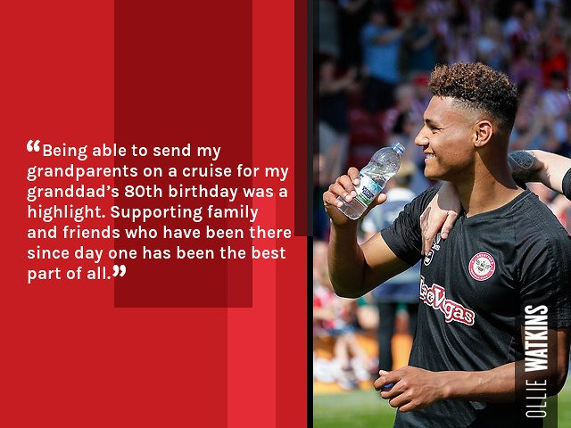 4️⃣8️⃣ appearances 1️⃣1️⃣ goals 9️⃣1️⃣ key passes 4️⃣assists Despite a stellar first season at #BrentfordFC, it was his ability to influence things away from the field of play that pleased Ollie Watkins the most in 2017/18. Read ➡️ bit.ly/2rGy9to