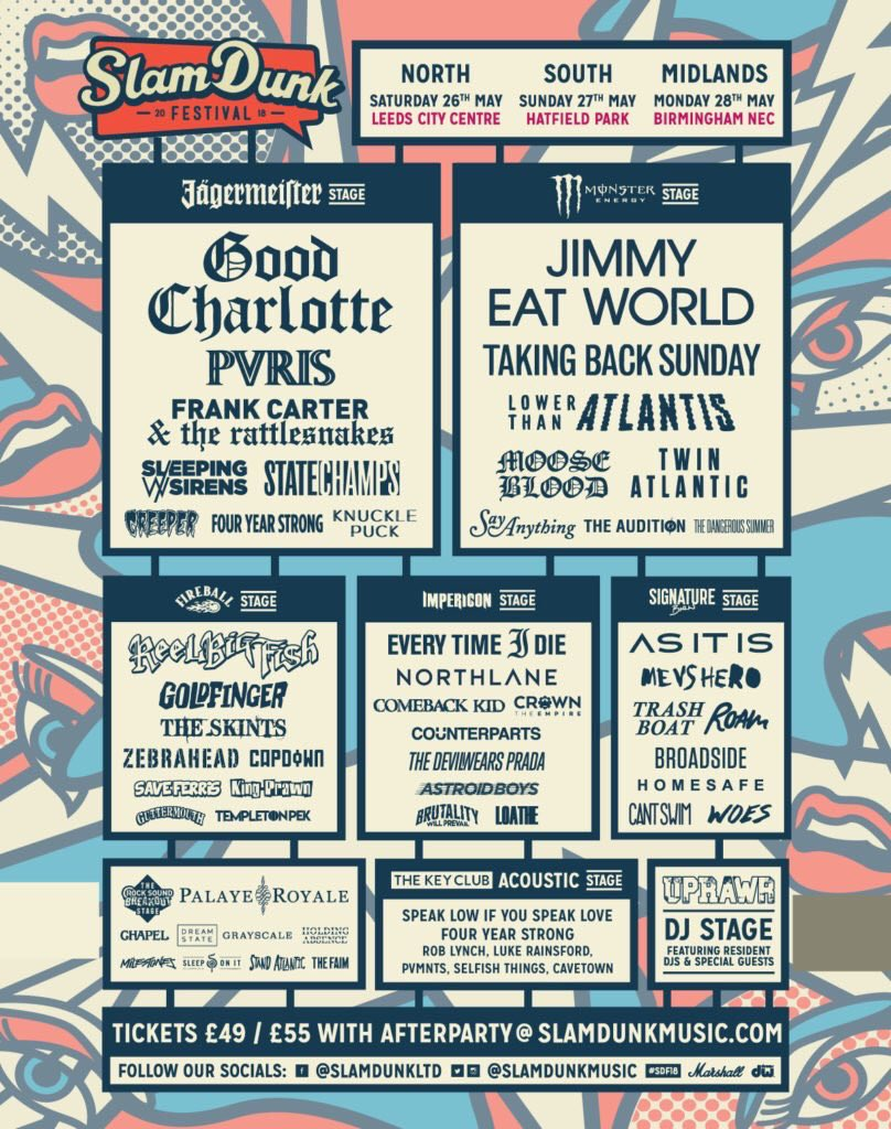 Very excited to be attending @SlamDunkMusic - we'll be checking out The Skints, LTA, Frank Carter and Woes to name a few.   Who you going to be seeing? #SDF2018