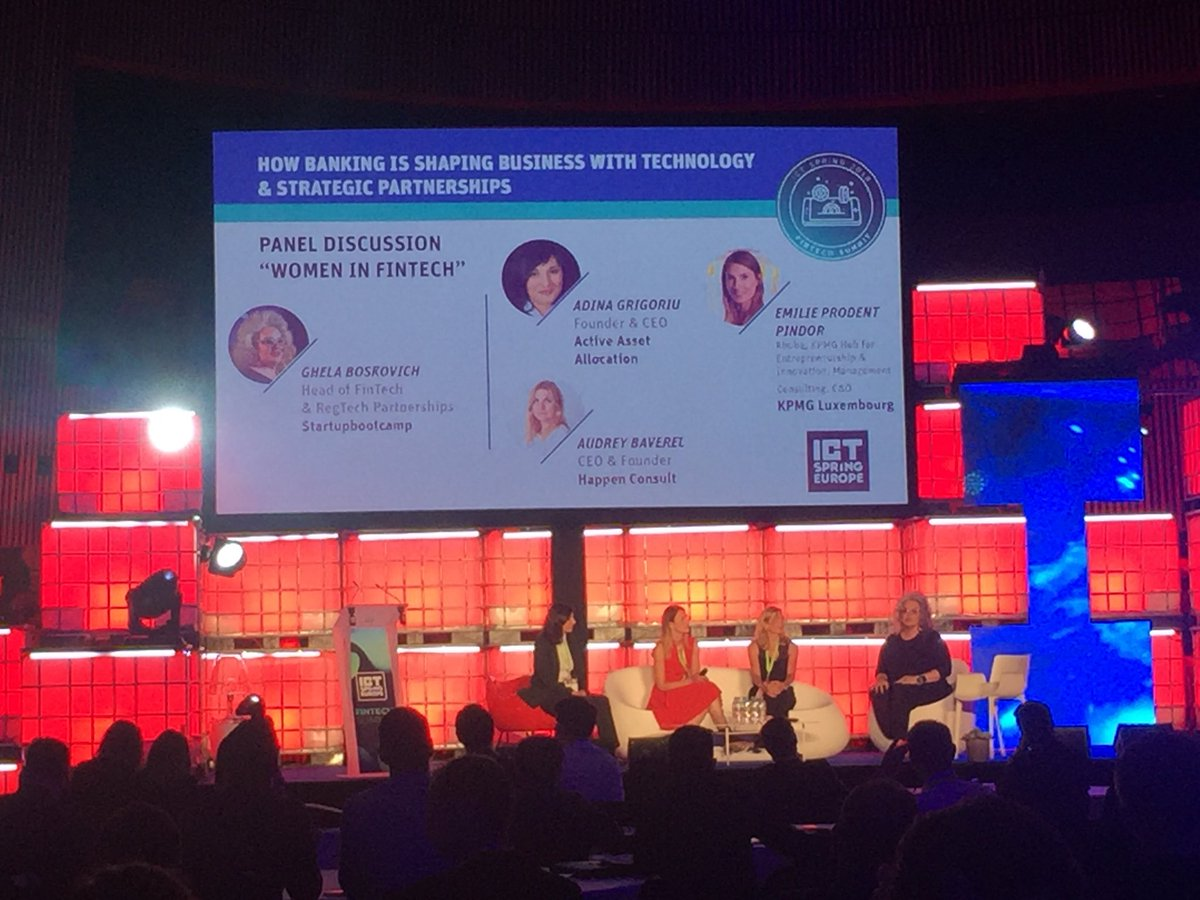 """Let's not forget that #ArtificialIntelligence is human intelligence quizzed into algorithms » @AdinaGrigoriu at #ICTSpring #WomenInFintech panel moderated by fab @GhelaBoskovich<br>http://pic.twitter.com/7tvd7Eldjs"