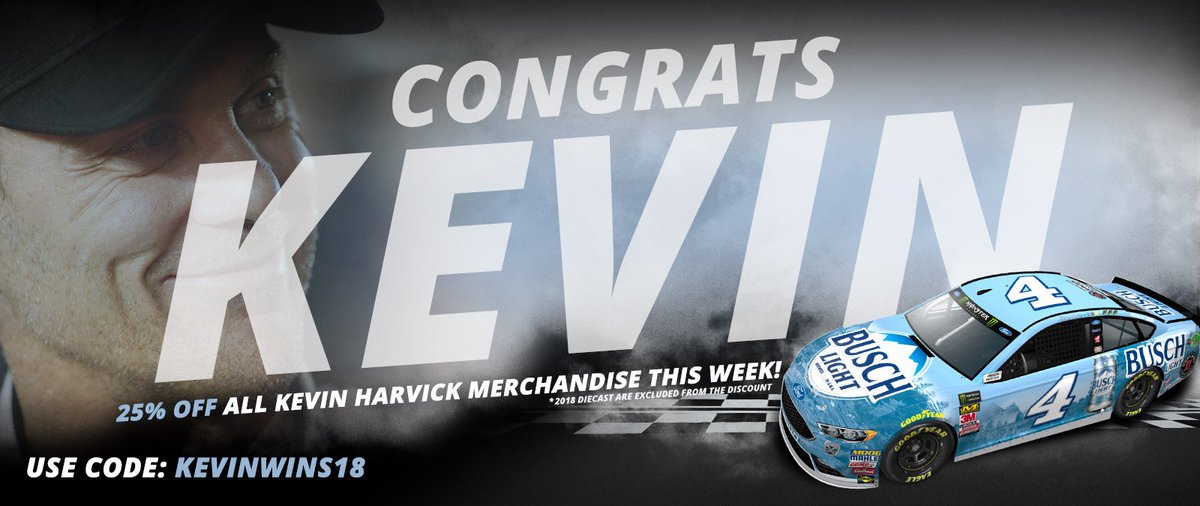 0964c47ddb5ab 4  BuschBeer team s win at  KansasSpeedway with 25% off all  KevinHarvick  merchandise in the SHR online store this week only. Use code KEVINWINS18  here ...