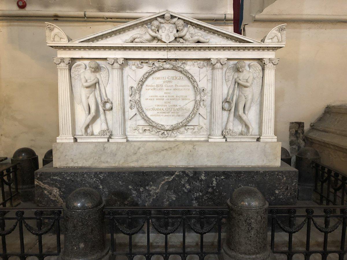 Tombe de Samuel Greigh (1736-1788) né en Ecosse, il commence sa carrière dans la Royal Navy, puis devient amiral en Russie, puis gouverneur de Kronstadt très apprécié par Catherine II (cathédrale Ste Marie, 1430, Talinn, Estonie 24 avril 2018, iPhone X)
